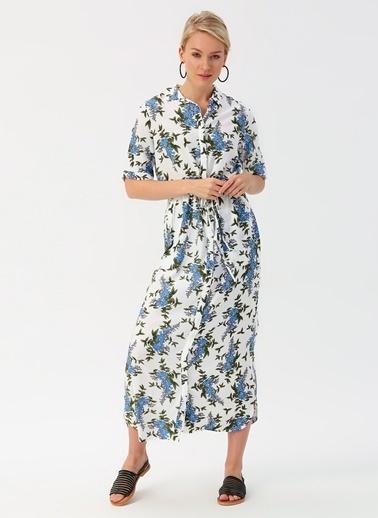 Koton Koton Mavi Çiçek Desenli Elbise Mavi